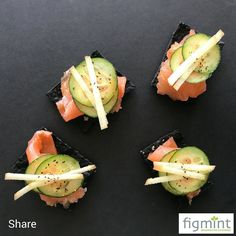 I LOVE how sexy these new canapes look... House-made Gravlax Pickled Cucumber & Apple on Squid Ink Crackers. #canapes #cocktailparty #celebrations #fingerfood #onebitewonders #mouthexplosion #entertainingwithfigmint #figmintcatering #sydneycaterer #parties #events