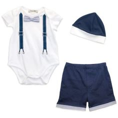 Harry & Violet 3-Piece Bowtie Bodysuit, Shorts and Hat Set - buybuyBaby.com
