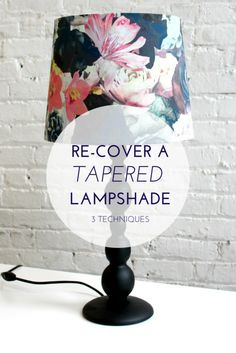 Learn how to re-cover a tapered (cone-shaped) lampshade. Learn 3 techniques, depending on what kind of condition your lampshade is in:  Replace the fabric only, replace the styrene (hard-back), or use math to create your own template!