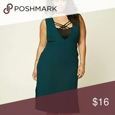 Nwt forever 21+ dress Deep green. Size juniors 2X. Non stretchy material. Deep cleavage, can be worn alone or with a bralette like shown on pic. (bralette not included) Forever 21 Dresses