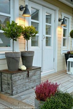 Front Garden Decor Ideas- Enhance Your Front Entrance With These ideas! Outdoor Spaces, Outdoor Living, Outdoor Decor, Porch Garden, Home And Garden, Front Door Plants, Jardin Decor, Garden Inspiration, Porches