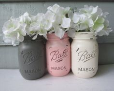 Painted and Distressed Ball Mason Jars- Light/Pale/Pastel Pink, Gray and White-Set of 3-Flower Vases, Rustic Wedding, Centerpieces