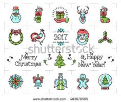 Christmas icons set, New Year isolated symbols. Celebration Color thin line logo. Holiday decoration isolated elements. Zodiac Year of the Rooster 2017, Vector illustration