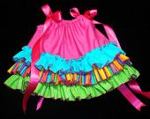Little Miss Lollipop TRIPLE RUFFLE Pillowcase Dress Hot Pink Lime Green and Aqua Made to Order 3T to 6 by Bloomin Cuties Boutique