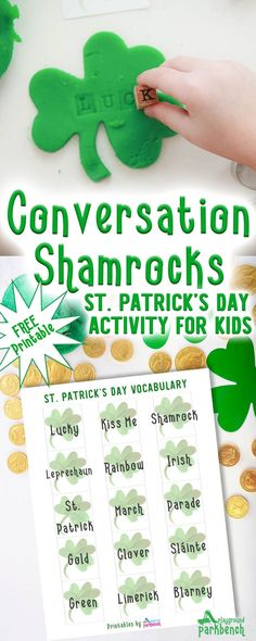 Work on holiday vocabulary, letter recognition and celebrate St. Patrick's Day with Conversation Shamrocks. A simple set up for St. Patrick's Day Preschool Activities #stpatricksday #kidsactivities #earlyliteracy #playdough
