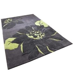 Sofiabrand Black Or Green Floral Hand Tufted Rugs