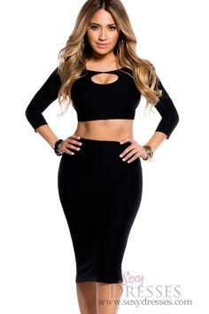 Sexy Black Bodycon Reversible Keyhole Crop Top and Midi Skirt Set
