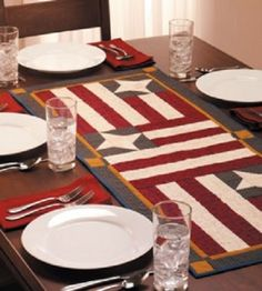 Quilted Flag Table Runner - free tutorial & pattern