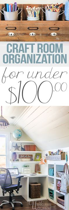 Amazing Office/Craft Room Organization in the Attic - look at all those cubbies under the kneewall! #hobbylobbystyle #ad