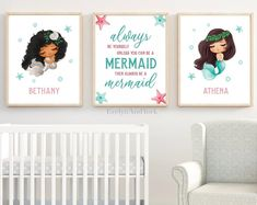 Mermaid Wall Art Teal and Gold Decor Mermaid Nursery Print | Etsy Mermaid Wall Art, Mermaid Nursery, Arrow Words, Teal Bedroom Decor, Teal And Gold, Nursery Prints, Toddler Bed, Handmade Gifts, Etsy