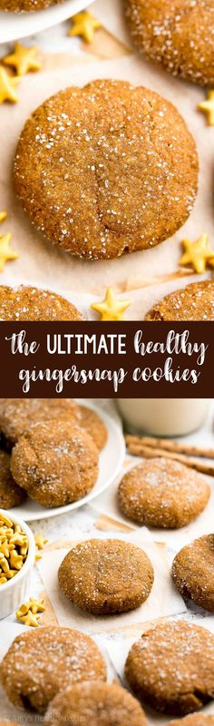 The ULTIMATE Healthy Gingersnaps -- only 68 calories! Perfectly chewy with a sweet, crisp coating! They taste INCREDIBLE -- not healthy at all! My whole family is obsessed with this easy recipe! You'll never need another gingersnap cookie recipe again! #healthy #glutenfree #cleaneating #holidays #christmas #holidaycookies #recipe