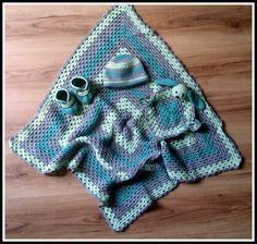 Fannysbuntewelt: Babyset: Decke, Mütze, Schühchen und Hasen-Schnuffel-Tuch in Grüntönen