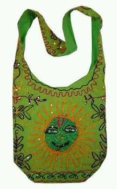 Green Cotton Sun Embroidery Bohemian / Hippie Sling Crossbody Bag