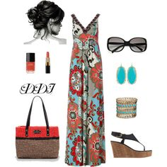 What a beautiful summer look! -Maxi Dress, created by dawndayiannelli Spring Summer Fashion, Summer Wear, Summer Outfit, Summer Time, Just In Case, Dress To Impress, Fashion Dresses, Maxi Dresses, What To Wear