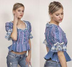 70s Fashion / Boho / Bohemian / Prairie / Small / Vintage Lace / Blue / Cotton / Blouse / Shirt / Top