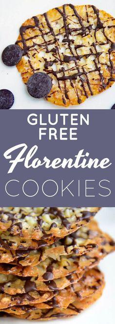 Gluten Free Florentine Cookies Recipes | gluten free cookies | gluten free florentine cookies | gluten free homemade cookies | gluten free desserts | gluten free Christmas cookie recipe || Now Find Gluten Free #GlutenFree