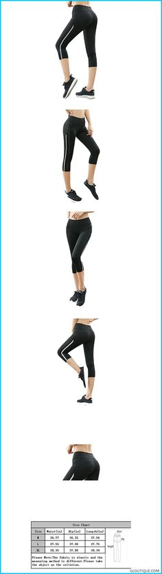 c447b06bf6 IvyMei Women's High Elastic Butt Lift Capri Yoga Pants Workout Fitness Mess Pants  Legging with Side Stripe Black