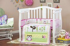Baby Owl Portable 3 Piece Crib Bedding Set