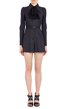 Shirt-Inspired Romper With Scarf