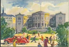 Kunstnerkort Chrix Dahl - Stortinget. Oslo. 1940-tallet Utg Damm
