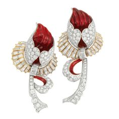 Pair of Platinum, Gold, Diamond and Red Enamel Flower Brooches