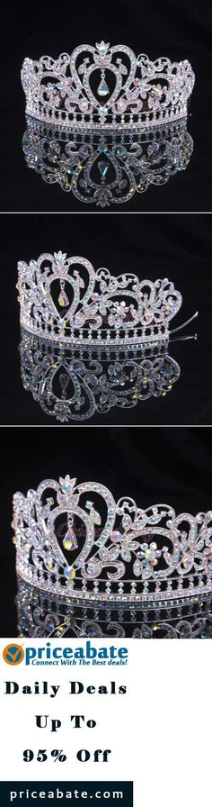 #Priceabate COLORFUL CLEAR AUSTRIAN RHINESTONE CRYSTAL TIARA CROWN BRIDAL PAGEANT HEADPIECE - Buy This Item Now For Only: $12.89