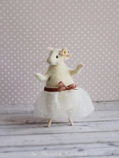 Needle Felted Animal, Ballerina Mouse, Dancing Mouse, Felt Mouse