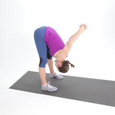 This stretch is good for your hamstrings and also loosens tight shoulders. Stand with your feet hips-width distance apart. Interlace your hands behind your back. Keeping your legs straight, bend at the hips, tucking your chin, and bringing your hands Post Workout Stretches, Hamstring Stretches, Lower Body Stretches, Ballet Stretches, Hamstring Muscles, Posture Exercises, Yoga Workouts, Fitness Exercises, Sore Lower Back