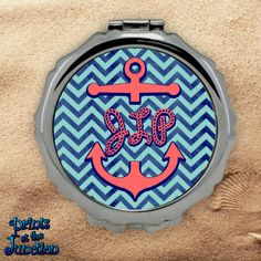 f374cd65fee96 Items similar to Monogrammed Nautical Compact Mirror Blue Chevron