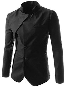 Mada Men's Slim Fit Stand Collar Irregular Suit Jacket Asian X-Large Black