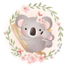 Cute doodle koala bear with floral illus... | Premium Vector #Freepik #vector Baby Koala, Baby Animal Drawings, Cute Drawings, Illustration Koala, Watercolor Illustration, Doodles Bonitos, Watercolor Flower Background, Flower Watercolor, Watercolor Art