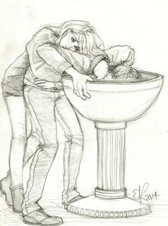 tlpursuit.tumblr.com Teddy Lupin looking into a Pensieve at a memory of his parents. Victoire comforting him.