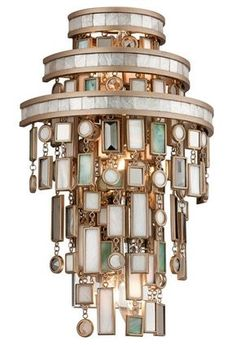 Corbett Lighting 142-13 Dolcetti 3 Light Wall Sconce with Hand Crafted Iron Fram Dolcetti Silver Indoor Lighting Wall Sconces Ambient Lighting