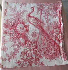 Antique French Fabric Linen Toile de Jouy Peacock by MadameSoussou Ticking Fabric, Linen Fabric, Papier Paint, Toile Wallpaper, French Fabric, Fabric Birds, Linens And Lace, French Decor, Vintage Fabrics