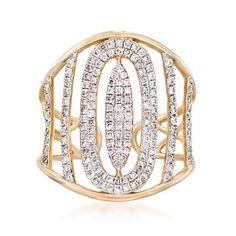 Ross-Simons - .66 ct. t.w. Diamond Openwork Cuff Ring in 14kt Yellow Gold - #864556