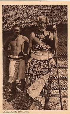 Samoa men in traditional clothes