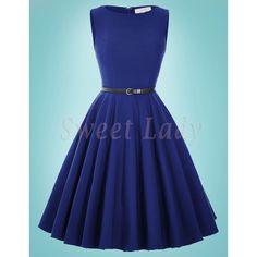 Prekrásne modré retro šaty vo vintage štýle