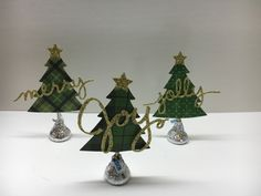 Christmas table favors using Stampin' Up! Perfect Pines Framelits and Christmas Greetings Thinlits. www.juststampin.com