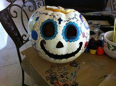 My sugar skull pumpkin.