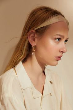 Check out Souvenir Charm Hoop Earring from Urban Outfitters Hair Inspo, Hair Inspiration, Two Color Hair, Color Block Hair, Hair Streaks, Outfit Trends, Hair Accessories For Women, Dyed Hair, Dyed Bangs