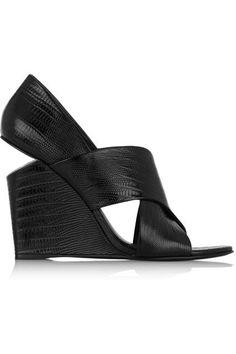 Net-A-Porter Shoe Sale May 2015 - Alexander Wang Ida Lizard-Effect Patent-Leather Wedge Sandals