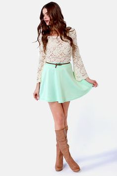 Love the combination! I wouldn't wear this for fall, but still really cute. But the boots would work for fall greatly!