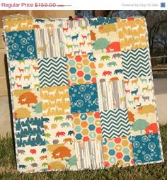 SALE Deer Quilt, Organic All Natural, Woodland Animals, Bears Forest, Navy Blue Yellow Grey Green, Birch Fabrics, Chevron Boy Girl, MADE TO on Etsy, $149.00