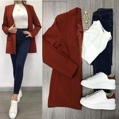 Savior Blazer Tile and High Waist Jeans ♥ ️ Blazer con forro … - Moda Casual Work Outfits, Work Casual, Classy Outfits, Stylish Outfits, Beautiful Outfits, Fall Outfits, Fashion Outfits, Blazer Fashion, Womens Fashion