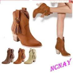 Casual Womens Cowboy mid block heel pull on tassels pointy toe Ankle boots shoes