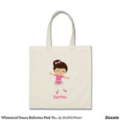 Whimsical Dance Ballerina Pink TuTu Carry All Budget Tote Bag