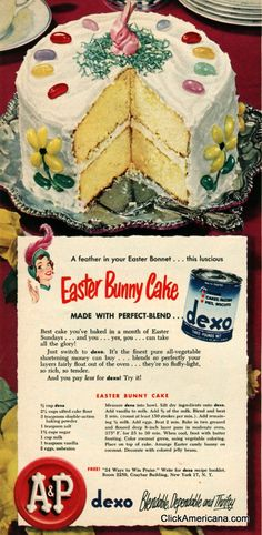 Easter Bunny Layer Cake recipe (1950). #vintage #food #recipes #Easter #1950s