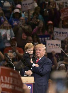 PRESIDENT TRUMP and Mini Donald Trump at a Rally