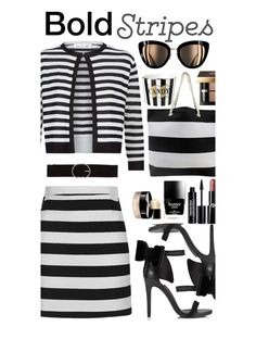 """""""Bold Stripes"""" by marionmeyer on Polyvore featuring Mode, Topshop, Damsel in a Dress, Miss Selfridge, Edward Bess, Butter London, Giorgio Armani, Bobbi Brown Cosmetics, Chanel und Vero Moda"""