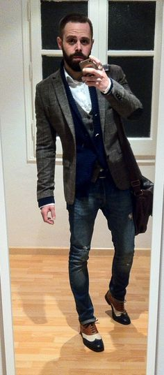 H&M Blazier and Waistcoat + MANGO MAN Jeans and Cardigan + ZARA Shirt, Shoes and Bag.